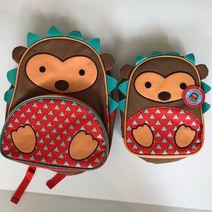 Skip Hop hedgehog backpack and lunch bag